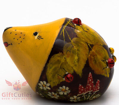 Wooden Hedgehog w Ladybugs figurine handmade and hand painted in Russia