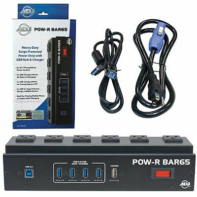 American DJ POW-R BAR65 6 Outlet Surge Protector with 4-Port USB 3.0 Hub Used