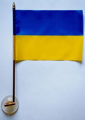 Ukrainian flag with Trident. Copper pole