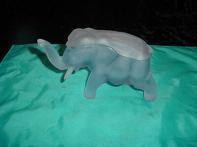 Tiara Frosted Blue Glass Covered Elephant Trinket Box/candy Dish.