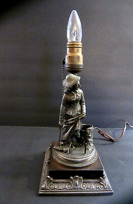 Antique Vintage Figural Metal Lamp. Rare Victorian Lady Playing Croquet. Works!!