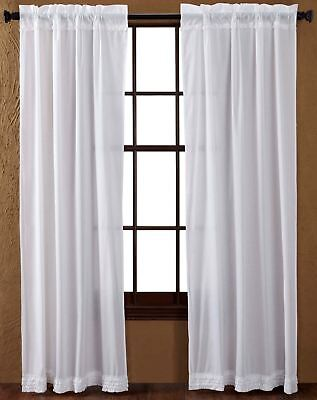 "84"" Long White Sheer Ruffled Window Curtains Romantic Cottage Cotton 2 Panels"