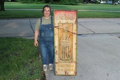 "Large Vintage 1920's Coca Cola Soda Pop Bottle Gas Oil 54"" Embossed Metal Sign"