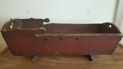 19th Century Red Painted Softwood Antique Primitive Doll Cradle