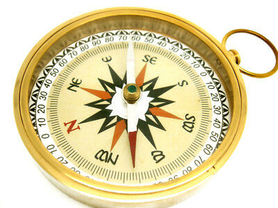 BEAUTIFUL SOLID BRASS 3-INCH NAUTICAL COMPASS w COLORED VICTORIAN COMPASS ROSE