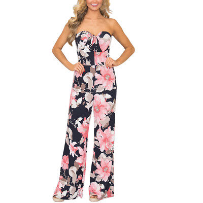 Women's Summer Floral Cold Off Shoulder Dress Bow Trousers Sexy Party Jumpsuits