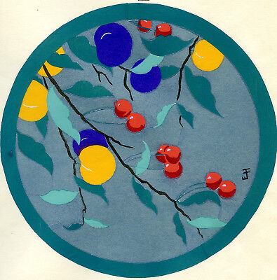 1930s French Pochoir Print Edouard Halouze Still Life Cherries Plums Fruits