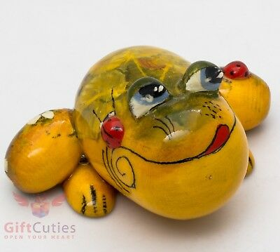 Wooden Frog Toad with Ladybugs figurine handmade in Russia
