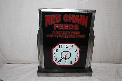 "Rare Vintage 1930's Red Chain Feeds Farm Gas Oil 23"" Lighted Clock Sign~Works"