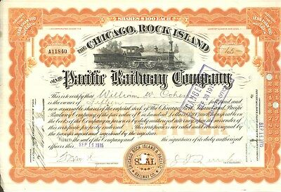 """Chicago, Rock Island & Pacific Ry stock certificate, Sep 16, 1915, 4-4-0 """"Americ"""