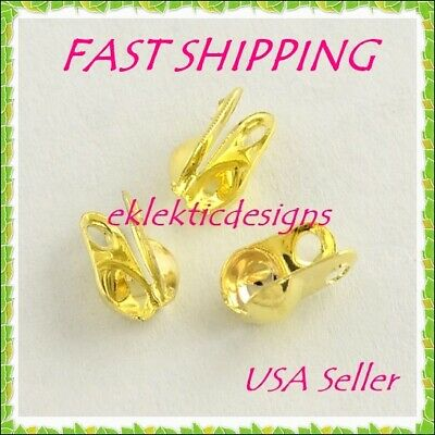 100pc Gold Plated Clamshell End Bead Caps Tips 4x2mm Crimps Jewelry Findings