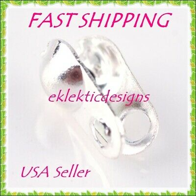 100pc Silver Plated Clamshell End Bead Caps Tips 4x2mm Crimps Jewelry Findings