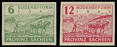 EBS Germany 1945 Soviet Zone SBZ Saxony Land Reform imperf. Michel 85-86 MNH**