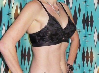 Vintage Lily of France Black Whirlpool Bullet Bra 34 C pin up clothing girl 1950