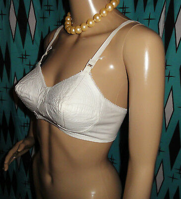 Vintage White Whirlpool Bullet Bra 36 A pin up clothing girl 1950s retro pointy