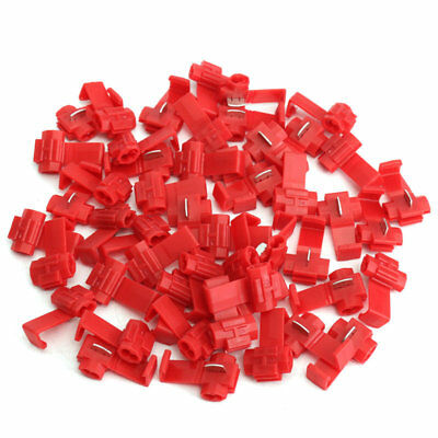 50Pcs Red Lock Wire Electrical Cable Connector Quick Splice Terminals Crimp