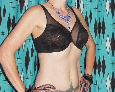 Vintage Black Lily of France Push Up Bra 36 D pin up clothing girl 1950's retro