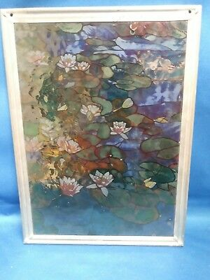 Water Lillies Stained Painted Glass Panel Sun Catcher Hanging Blue Green Pink
