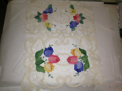 2 Vtg Gorgeous Intricately Hand Embroidered Organdy Net Lace Placemat DINE Cloth