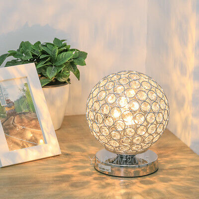 HAITRAL Crystal Ball Table Lamp Decorative Nightstand Light Desk Lamp Bedroom
