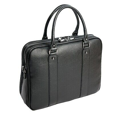 Ital. Nobile Cartella Conferenza Business Bag Din A4 Vera pelle Nero 051S