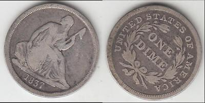 Better Date 1837 Large Date No Stars Seated Dime Vg+