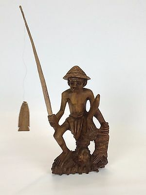 Fisherman Handcrafted Ornamental Figuarine Vintage Display 30cm Natural Wood