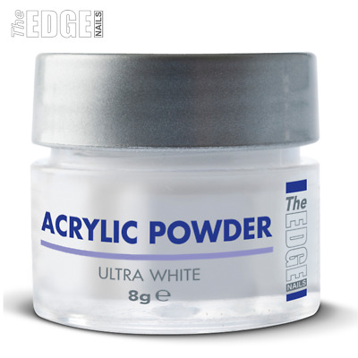 The EDGE NAILS 8g Acrylic Powder ULTRA WHITE Self Levelling Medium Setting