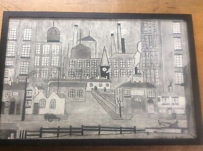 Vintage Mid Century Northern Industrial Factory Scene Original Signed Charcoal