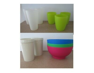3 Smash Green Cups 3 Tall White Plastic Tumblers Bulk Lot Picnic Party Camping