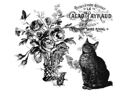 Vintage French Advertising Labels Furniture Transfers Cat Roses Decals MIS652