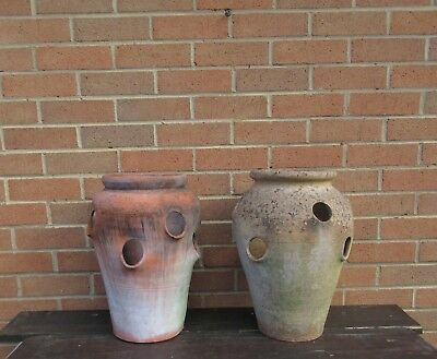 Used Weathered Large Modern Terracotta Clay Strawberry Herb Garden