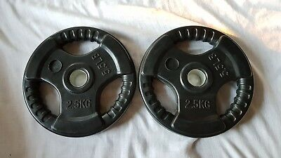 2x 2.5KG Rubber Coated Standard Weight Plates Home Gym