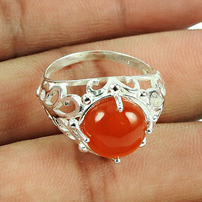 Gemstone Ring With Carnelian 925 Silver Designer Ring For Women Us Size 7