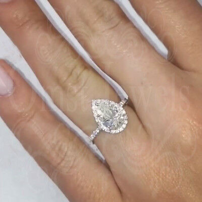 2.4Ct Pear Forever Gorgeous Mossanite Engagement Fine Ring 14K Solid White Gold