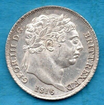 1816 SILVER SIXPENCE COIN. KING GEORGE III. TANNER. BEAUTIFUL CONDITION 6d..