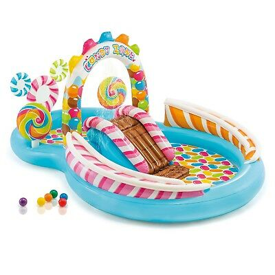 Intex Inflatable Kids Candy Zone Play Center Slide Outdoor Backyard Pool Toy