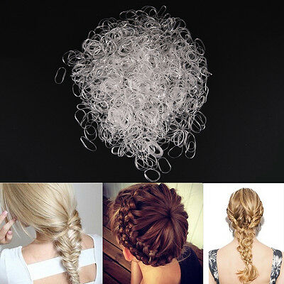 18 VARIATIONS x1000 Poly Rubber Braiding Plaits Hair Elastic Bands Small Clear