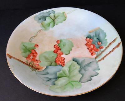 Vintage Limoges France Hand Painted Collector Plate with Berries and Leaves