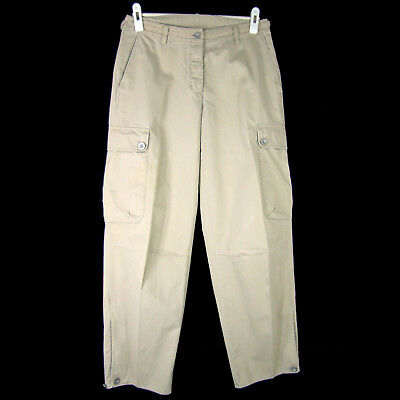 DKNY Pants 6 Khaki Cotton Sporty Cargo Mid-Rise Button Fly Adjustable Waist Cuff