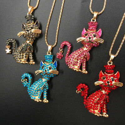 Gold Plated Rhinestone Lovely Hat Cat Pendant Necklace Sweater Chain