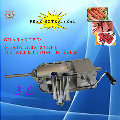 New Stainless Steel Meat Sausage Filler Stuffer Salami Maker Horizontal 3L