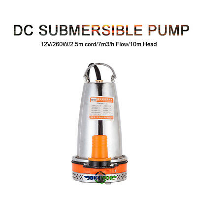 Submersible Water Well Pump Mini DC12V 260W 32.8ft Head Max With 8.2ft Cord