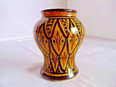 Morocco Moroccan Safi Glazed Pottery Vase Hand Painted Redware Middle Eastern