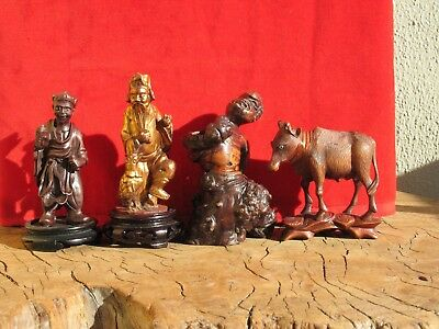 A1750 Lot of 4 19th Century Chinese Hand Carved Miniature Figurines