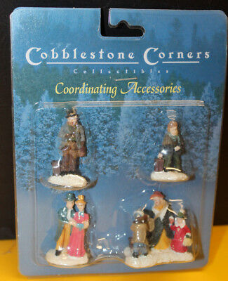 cobblestone corner christmas village accessory winter figures lot of 4