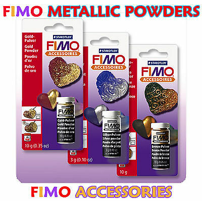 Fimo Accessories Metallic Gold / Silver / Bronze Powders Creative Ideas