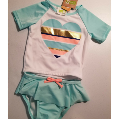 Crazy 8 baby girls rash guard swimming suit set: blue, gold, & pink heart