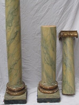 "Antique French Wood Faux Painted Marble and Gold Ionic Columns 83"" Pair"