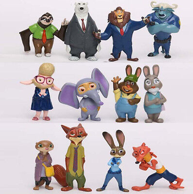 12pcs Zootopia Zootropolis Judy Hopps Nick Wilde Mr Big Mini Toys Dool Figures
